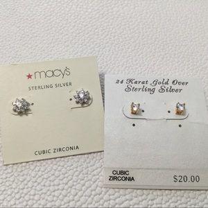 Two Pair Cubic Zirconia Post Pierced Earrings